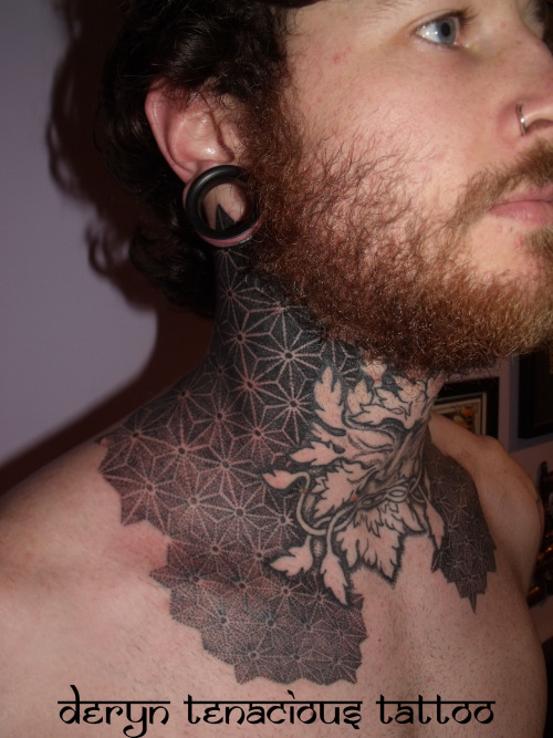 tenacioustattoo:  Dave's throat piece.. Work in progress by me, Deryn Tenacious Tattoo, Sheffield UK