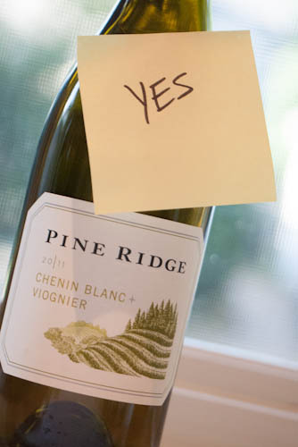 Pine Ridge 2011 Chenin Blanc & Viognier. Yes! This is a nice white for hot days or warm nights or maybe just some spicy food.  Light but with some good body and flavor.  Although I am a huge Viognier fan so I may be biased.  Check it out only $14. http://www.pineridgevineyards.com/wine/2011-chenin-blanc-viognier-2