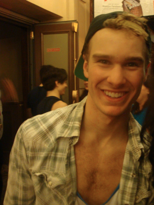 Ryan Steele at Stage Door of Newsies. Why yes, I did cut myself out of this picture.