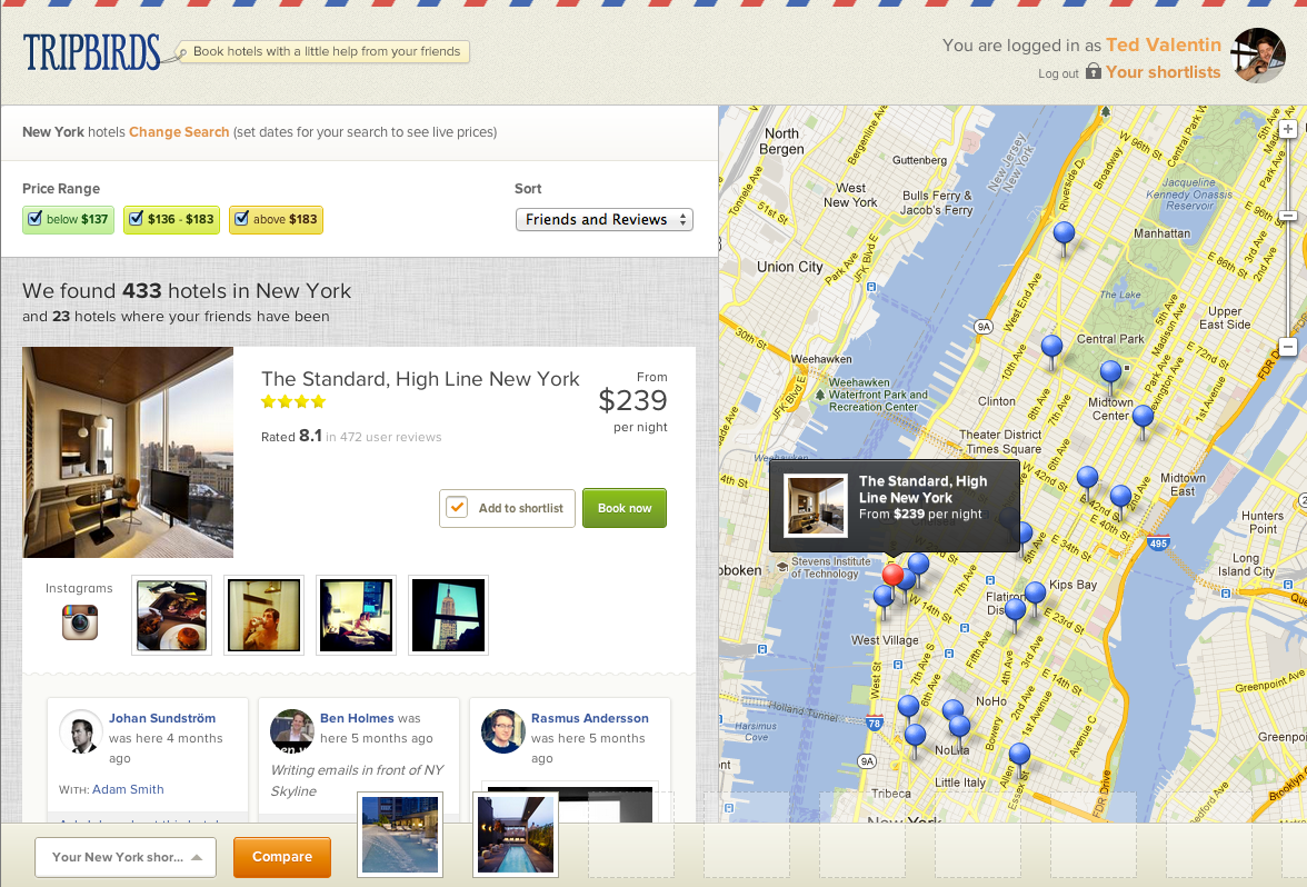 Tripbirds is a hotel booking service with some nice social touches. I'd like to see Foursquare tips in the mix too.                (via New York Hotels – Tripbirds)