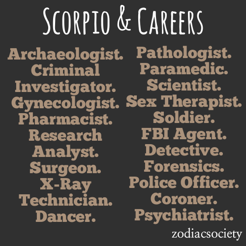 zodiacsociety:  Scorpio Career Ideas.