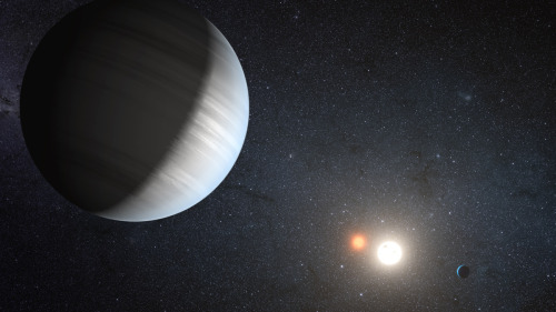 "ikenbot:  Two Alien Planets Found with Twin Suns Like 'Star Wars"" Tatooine Astronomers have for the first time discovered two alien planets whirling around a pair of stars: a complete solar system with twin suns just like Luke Skywalker's fictional home world Tatooine. Most stars like our sun are not singletons, but rather come in pairs that orbit each other. Scientists had found planets in these binary systems, so-called circumbinary planets with two suns like Tatooine in the ""Star Wars"" universe. To find more circumbinary planets, astronomers analyzed data from NASA's prolific Kepler space telescope, which has detected more than 2,300 potential alien worlds since its March 2009 launch. Kepler had to date detected four systems with circumbinary planets — Kepler-16, 34, 35 and 38."