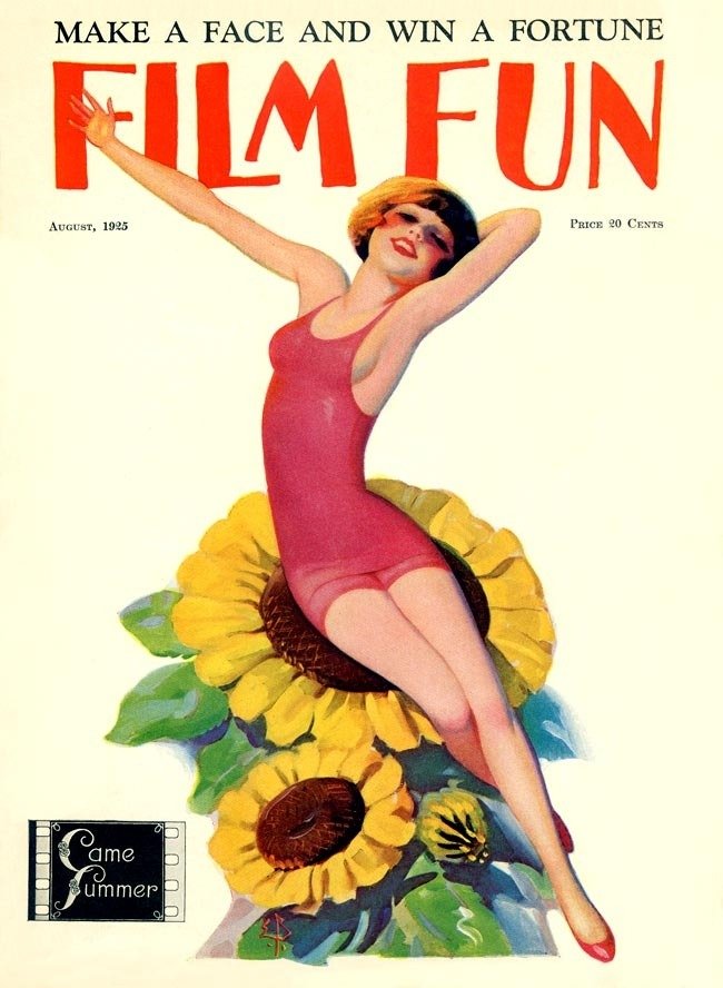 whataboutbobbed:  Enoch Bolles illustrates the power of flowers on the August 1925 cover of Film Fun  Source Mark Forer