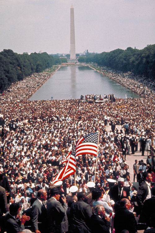 "life:  On the anniversary of the March on Washington, LIFE.com presents a selection of pictures — most of which never ran in LIFE magazine — commemorating that day. But what is especially moving about so many of these pictures (those shot ""on the ground"" by Paul Schutzer, in particular) is that they illustrate the scene as witnessed not by those who led and organized the event, but by those in the crowd. There is huge emotion here, and excitement and pride — but above and beyond everything else, these photos evince a near-palpable sense of inclusion and, even if only for a moment, a suggestion that power was passing to the people. Not originally published in LIFE: Scene from the March on Washington for Jobs and Freedom, August 28, 1963. See more photos here."