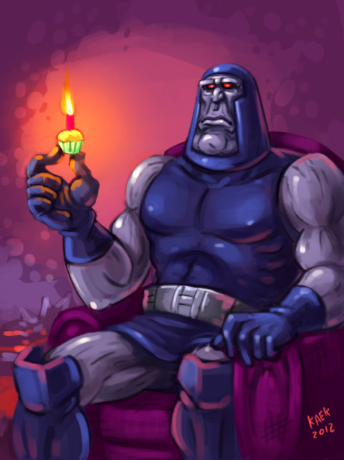 Darkseid celebrating on a couch, a speedpaint by the extremely talented Carlos Eulefí: http://kaek.deviantart.com/ Happy birthday, King of Comics!