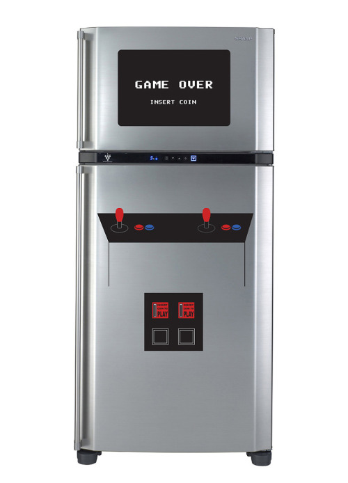 it8bit:  Fridge Arcade Decals Your fridge can become a vintage arcade cabinet for $50 USD at Walking Dead Promotions.