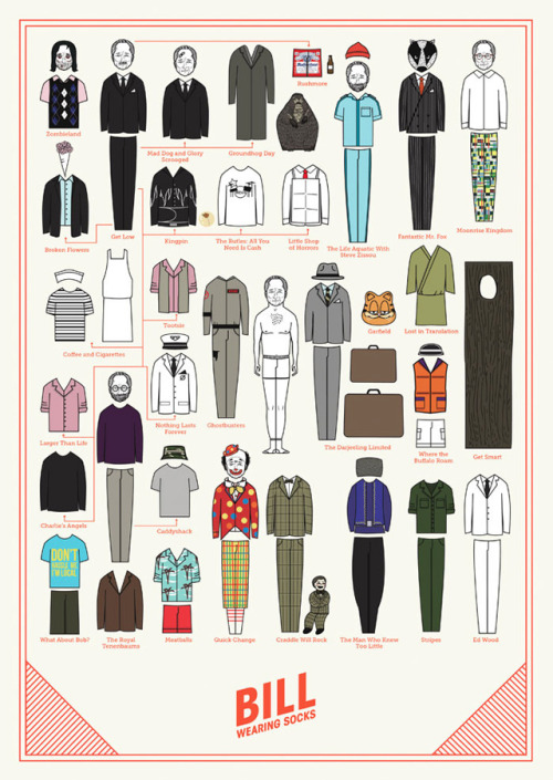 """Bill Wearing Socks"" by Niege Borges (A Bill Murray paper doll) (via Bill Wearing Socks Art Print by Niege Borges 