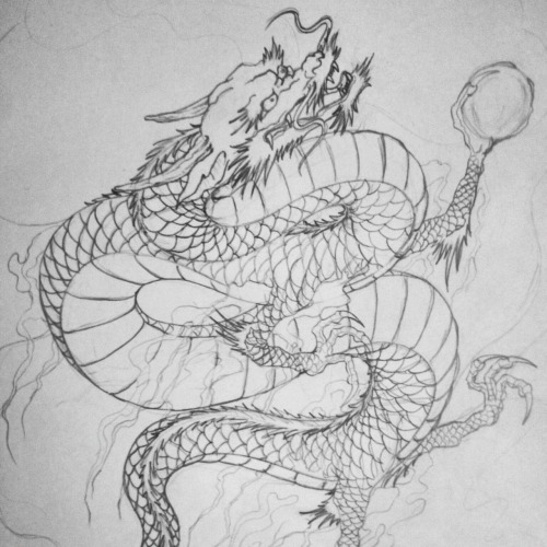 Another Japanese dragon. I may finish this guy in reds and oranges.