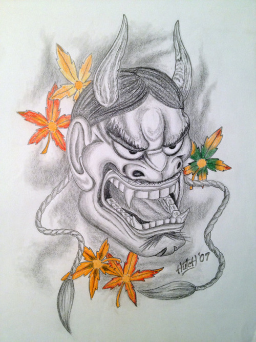 Sketch of a Japanese Hannya mask in pencil and colored pencil.