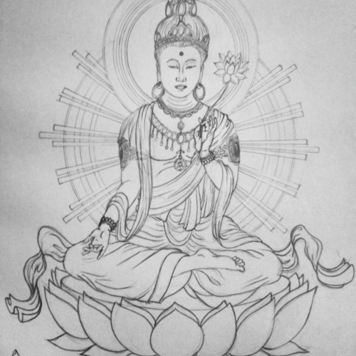 Buddhist sketch that my wife wants to use for her full back tattoo. If she gets it done, it will be amazing!