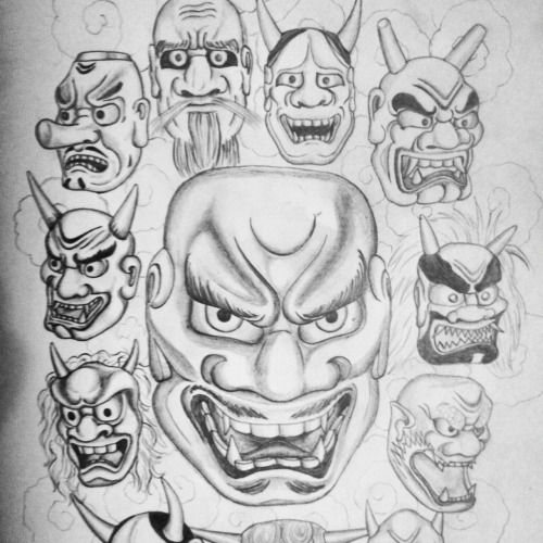 Sketch of a collection of Japanese masks. I think this would make a cool t-shirt design.