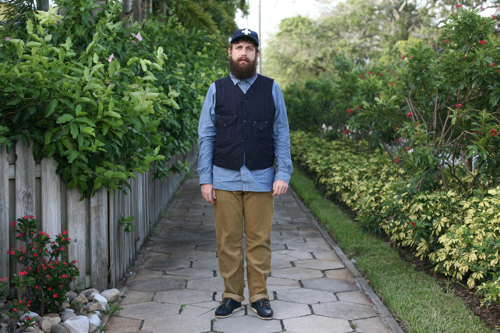 Post Overalls Cruzer vest w/ Engineered Garments Miner shirt in chambray + Engineered Garments Workaday corduroys