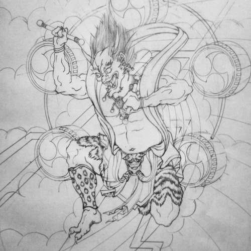 Sketch of Raijin, Japanese buddhist god of thunder. He makes thunder by pounding on his taiko drums.