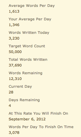 A little over 3K words tonight. Was hoping for another 5K word night, but I am exhausted and really need to get some sleep. The Boo even made dinner tonight, which is a big indicator of how tired I am.  Busy day at work tomorrow, and then a concert at The Knitting Factory. Not sure when I'm going to fit in time to write, but I've got to get some done.