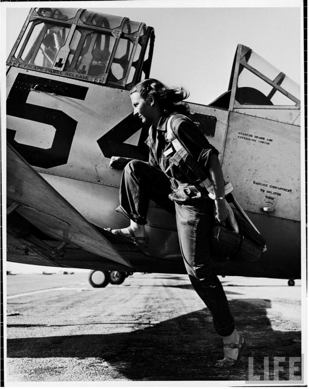 stowaway:  Photo of a pilot of the U.S. Women's Air Force Service by Peter Stackpole, 1943.
