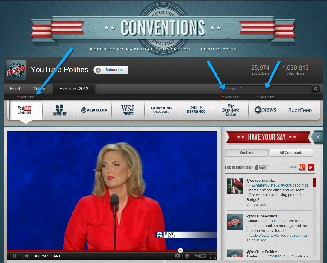 "I'm watching the #RNC speeches on YouTube. (Like any Internet romantic, I don't have cable.) Anyway… Youtube.com/politics is impressive. They have a menu with major news organizations (not just major TV networks), and you can choose to watch coverage from any of them. They even show a lil' ""live"" indicator next to the networks who have a livestream related to politics right now. (The live tweets filtered-per-org are cool, too.)"