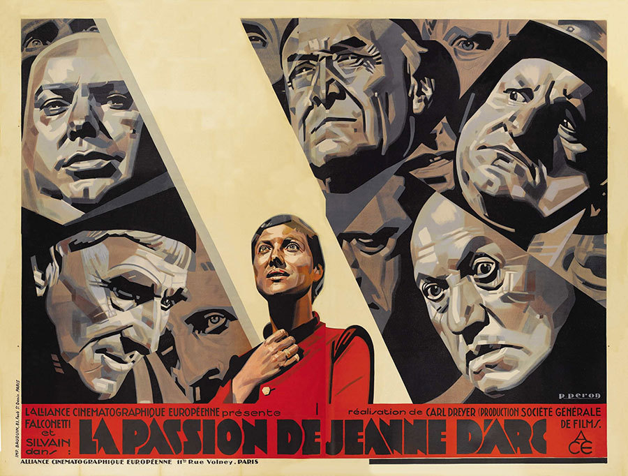 "movieposteroftheday:  French 4-panel poster for LA PASSION DE JEANNE D'ARC (Carl Th. Dreyer, France, 1928) Artist: René Péron (1904-1972) [see also] Size: 94"" x 126"", or almost 8 feet by 10.5 feet Poster source: MoviePosterDB For more stunning, widescreen posters by René Péron see Movie Poster of the Week at mubi.com"