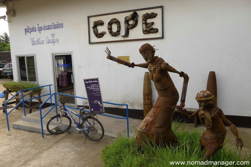 "A Priceless Gem: COPE Visitor Centre in VientianeAugust 16, 2012 - Vientiane, Laos Apart from the city's amazing sunsets, one of Vientiane's true gems is not in its historic structures, or its overall stuck in the 80's look, but the UXO (UneXploded Ordnance) Museum by COPE. Lao PDR is the most heavily bombed country per capita in history. Over 2 million tons of ordnance (more than 270 million bombies) were dropped on Laos between 1964 and 1973. Approximately 30% failed to detonate leaving 80 million unexploded bombies in Laos after the war. Over 50,000 people have been killed or injured by these bombs during the war, and over 20,000 after the war. And given that there are still a lot of UXOs in the country, the cases of post war casualties are likely to increase. [[MORE]] Good thing there are groups like COPE that help generate awareness about this, gather funds through donations, and ultimately give victims of UXOs a new lease on life with custom-made prosthetics.  The COPE Visitor Centre has a wealth of information on the history of UXOs, how they are used today, case studies of UXO victims, films, and a souvenir shop and cafe where you can ""buy/give good karma"" through the purchase of merchandise, coffee, or ice cream, the proceeds of which go to COPE's Rehabilitation Efforts. I never felt better about my slightly more expensive coffee or my underwhelming ice cream. It's sad to hear of the stories of families who lost loved ones because of UXOs, or victims whose lives were completely altered by UXO encounters, and if you're feeling depressed at all about your life, a visit to COPE Visitor Centre will make you feel like a whiny bitch who complains about being so fortunate. At the same time, it's inspiring to see how organizations like COPE help bring hope and dignity back to people injured by UXOs, and even more inspiring to see these people surpass their disabilities and lead ""normal"", if not even more enlightened lives.  So, I dare say, skip everything else in Vientiane, you don't even have to bother with Patuxai or the temples, because even if you just have enough time to visit the COPE Visitor Centre (and walk along the Mekong River at sunset), then Vientiane will have been worth your while. Jen Follow my tweets • Find me on Facebook • Sign up for my newsletter • E-mail me"