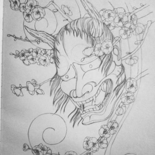 Sketch of hannya mask with plum blossoms. The flowers are going to look amazing when they're colored in.