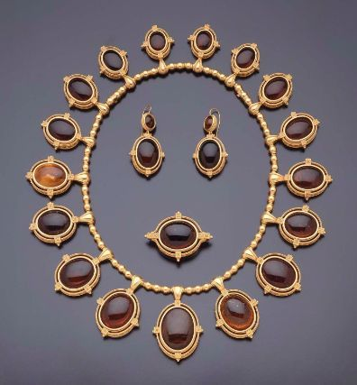 Demi-parure, comprising a necklace, brooch, and pair of earrings Italian (Rome), 19th century, about 1860–70 (via Museum of Fine Arts, Boston)