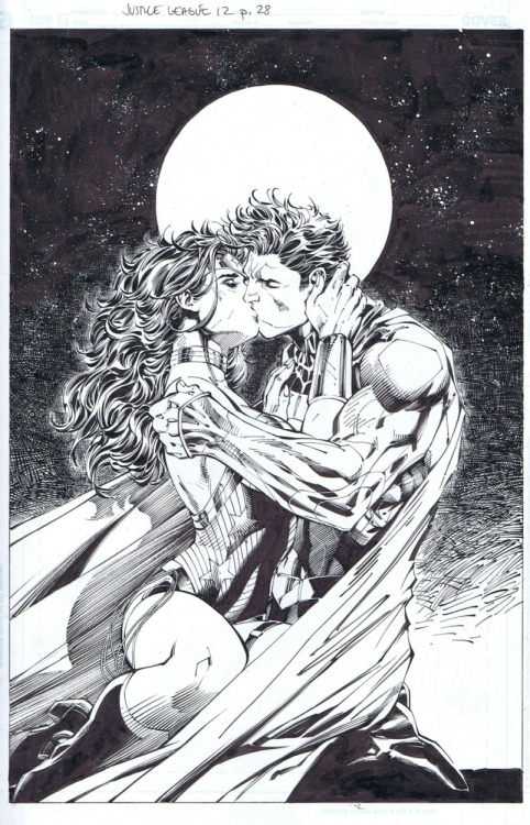 "keaneoncomics:   Justice League #12, ""The Kiss"" From inker Scott Williams: ""This issue hits the stands tomorrow…and you might have heard there's a new spin on an old relationship that pops up. Thought I would show the key moment in good old black and white. Hope you enjoy."""