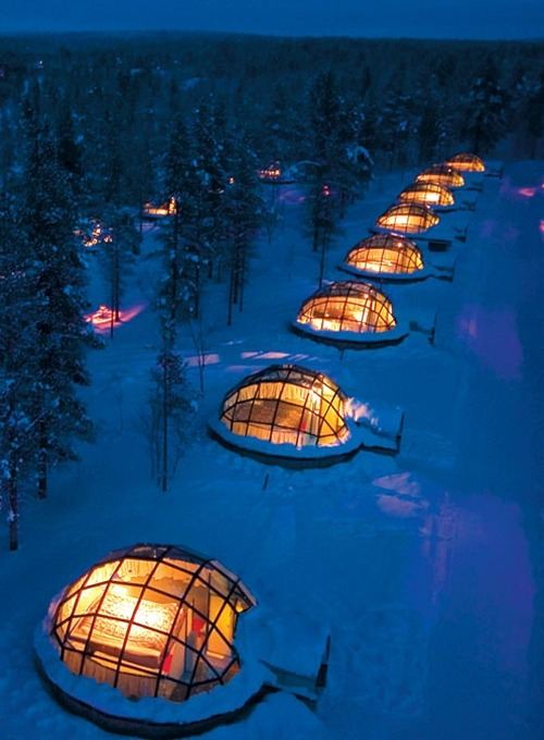 renting a glass igloo in Finland to sleep under the northern lights  brb renting an igloo in finland   Is it me.. Or do they all look like hand grenades…
