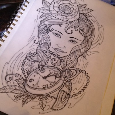 jobyc:  Inked. Maybe some color next 😊 #tattoo #tattooart #traditionaltattoo #pocketwatch #rose #illustration (Taken with Instagram at my comfortable bed :))