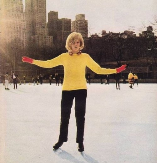 sylvie-vartan:  Sylvie ice skating in New York