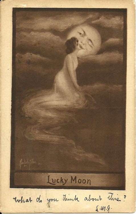 "maudelynn:  ""Lucky Moon""  by Alice Luella Fidler c.1909  (and that's goodnight for me!! xo xo)"