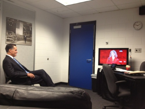 Mitt Romney, backstage at the Republican National Convention, watching his wife Ann deliver the speech that was widely considered to be the highlight of Tuesday's schedule.