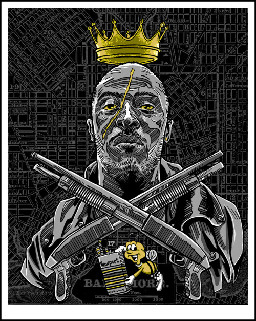 """The King of Baltimore"" 16x20- metallic gold and silver ink. Part of the MORE THAN YOU IMAGINED TV Art show at the Bottleneck gallery, opening next month. They only have 50 of these for sale!"