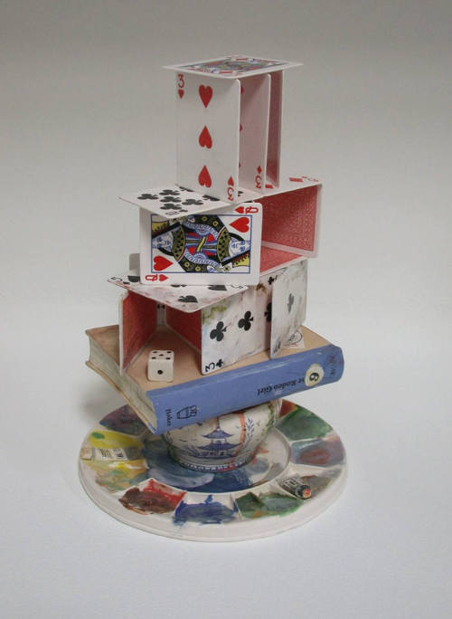 """Artist's House of Cards""2003glazed porcelain with underglaze transfers and overglaze decals13 x 8.5 in.  I had the amazing experience of meeting Richard this summer at Watershed Center for the Ceramic Arts. A wonderful, kind, talented human."