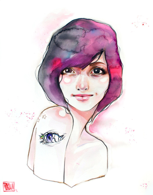 """For Tata"" Watercolor + Acrylic + Colored Pencil (Æon Flux reference, Peter Chung)"