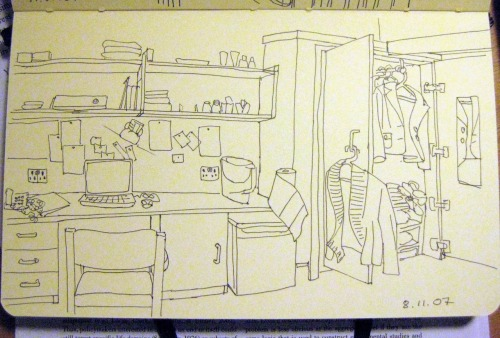 My room at university, sketch from 2007.