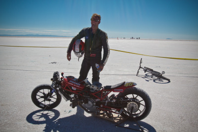 "Mark Bjorklund of Super Rat with his Sodium Distortion Ducati S4RS salt racer. That's the ""I just broke my own record"" smile."