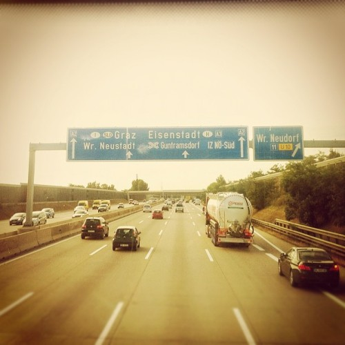 Heading south #autobahn #tour #trip #vacation #highway #sign #street #cars #traveling #ontheroadagain #road #a2 #iphone4 #iphoneonly  (Taken with Instagram)