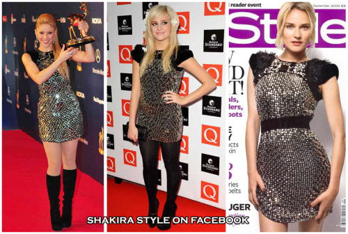 Who wore better? - Gucci Fall 2009 RTW Embellished Sparkling Mini Dress Shakira vs Pixie Lott vs Diane Kruger VOTE HERE  visit & like Shakira style on Facebook