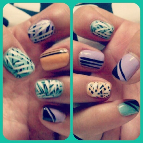 Doin' that ClaSS + SaSS @ the Same Damn Time!! #nails #nailsdid #nailzdid #naildesign #mani #manicure #pastel #diy #freehand #DiYorDiE (Taken with Instagram)