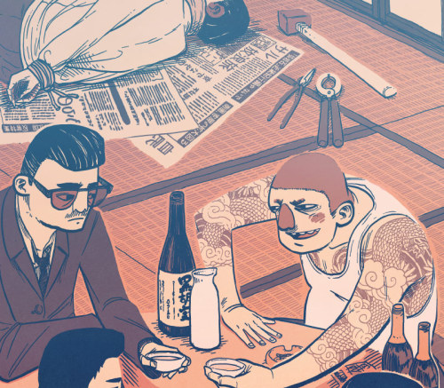 ryan-a:  Here's a little making-of my Yakuza illustration for the exhibition, Battles without Honor and Humanity, at Floating World Comics in Portland Oregon on September 16.