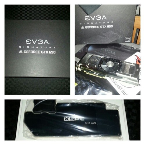 New addition to my beast! #evga #gtx #690 #motherboard #asus #sabertooth #pc #computer #overclock #extreme #z77 #sli #nvidia #intel #amd #mod #modding #pcmod #pcmodding #gtx #watercooled #watercooling #i7 #3770k #5ghz (Taken with Instagram)