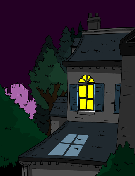 Outside section of Sanderson's house for the next strip.  I spent entirely too much time drawing and coloring this, but I really like drawing buildings.