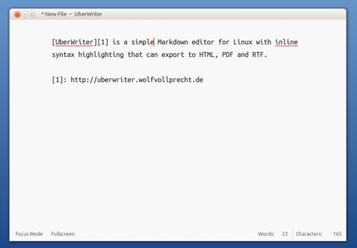 UberWriter is a simple Markdown editor for Linux with inline syntax highlighting. It can export to HTML, PDF and RTF.