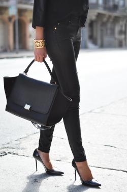 gold on black. via 9to5chic