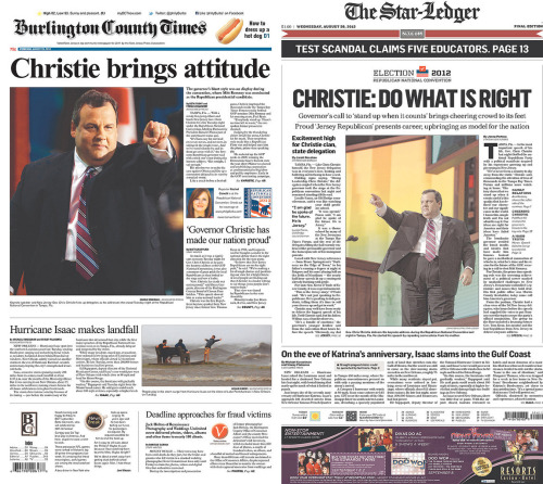 azipaybarah:  New Jersey papers like it when Christie points.  Chris Christie has an index finger, and he's not afraid to use it.