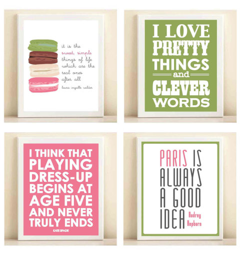 "thecollegeprepster:  Perfect collection for bedrooms and dorm rooms, don't you think?  except the macaroons kind of look like sideways female genitalia, as illustrations…sorry about my gutter brain. maybe that's the ""deeper meaning"" behind the quote it's paired with."