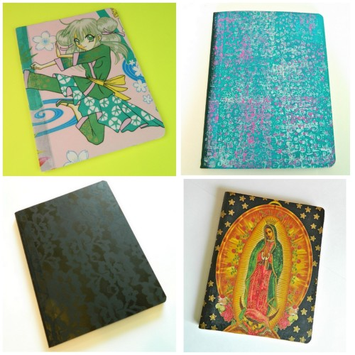 truebluemeandyou:  DIY Covers for Composition Books from Mark Montano here. The black one has gold edged pages and lace is over sprayed for the cover. For more composition book and book jacket ideas go here: truebluemeandyou.tumblr.com/tagged/book-jackets  Really like the black lace one and the blue and pink stamped one too!