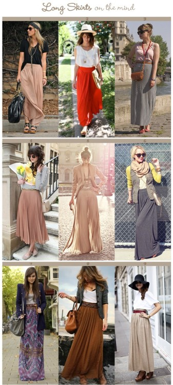#PinterestFashionFind: Great outfit ideas for wearing maxi skirts. As seen on: http://pinterest.com/sweetasnzgirl/