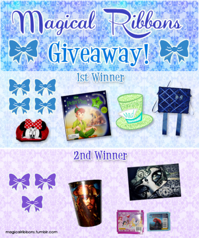 "magicalribbons:  Magical Ribbons 5000 Follower Giveaway! To say thank you for the continued support of many of you, and to you new followers! Thank you for helping make my dreams come true! I hope my bows give you joy in every way! To help other's dreams come true, I have teamed up with 2 other Disney inspired artists to bring you this giveaway! Simply Mad Designs who paints shoes to your own custom design! She will do more then just Disney, but I think she did a FANTASTIC job on my Peter/Wendy Converse! Secret Masks makes Disney inspired masquerade masks! Her creations are amazing and I cannot wait to see what she has in store!  Details: ENDS 9/5/12 12pm EST Winners will be chosen random by a random number generator. Rules: 1. You must be following: Magical Ribbons Simply Mad Designs Secret Masks 2. You must REBLOG this post 1 time ONLY. ( You may only use 1 of your blogs to do so) NO LIKES. 3. 1st Winner is USA only. 2nd Winner can be USA or not.  Prizes: 1st Winner:  Shipped from Magical Ribbons: 4 Magical Ribbons Bows of your choice (5 minis count as 1) 1 Gadgets & Gizmos Board of your choice. 1 Peter Pan Storybook with included Tinkerbell necklace. 1 Minnie Mouse Pouch (Can be used for pens, makeup, or anything!) From Simply Mad Designs: One ""voucher"" for shoe painting from Simply Mad Designs. You will need to supply your own plain white shoes and send them (to ensure proper fit), but the cost to paint them and to ship them back to you will be covered by Simply Mad Designs.  For more information on shoe types and how to go about this process, please visit Simply Mad Designs's Blog. 2nd Winner: Shipped from Magical Ribbons: 3 Magical Ribbons Bows of your choice (5 minis count as 1) 1 Pirates of the Caribbean Drinking Cup. 1 Set of 8 mystery Disney Princess Stickers 1 set of 7 mystery Brave Stickers. Shipped from Secret Masks: 1 mask of your choice. The mask types you can choose from are the Butterfly and the Elegance. You man choose any existing design or have a costum design made."
