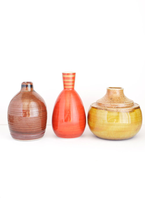 Small Vase Instant Collection Pottery Ceramic Brown Red Yellow