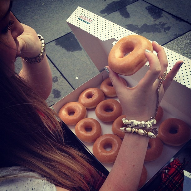Me and @cillaablack got free Krispy Kreme today! (Taken with Instagram)